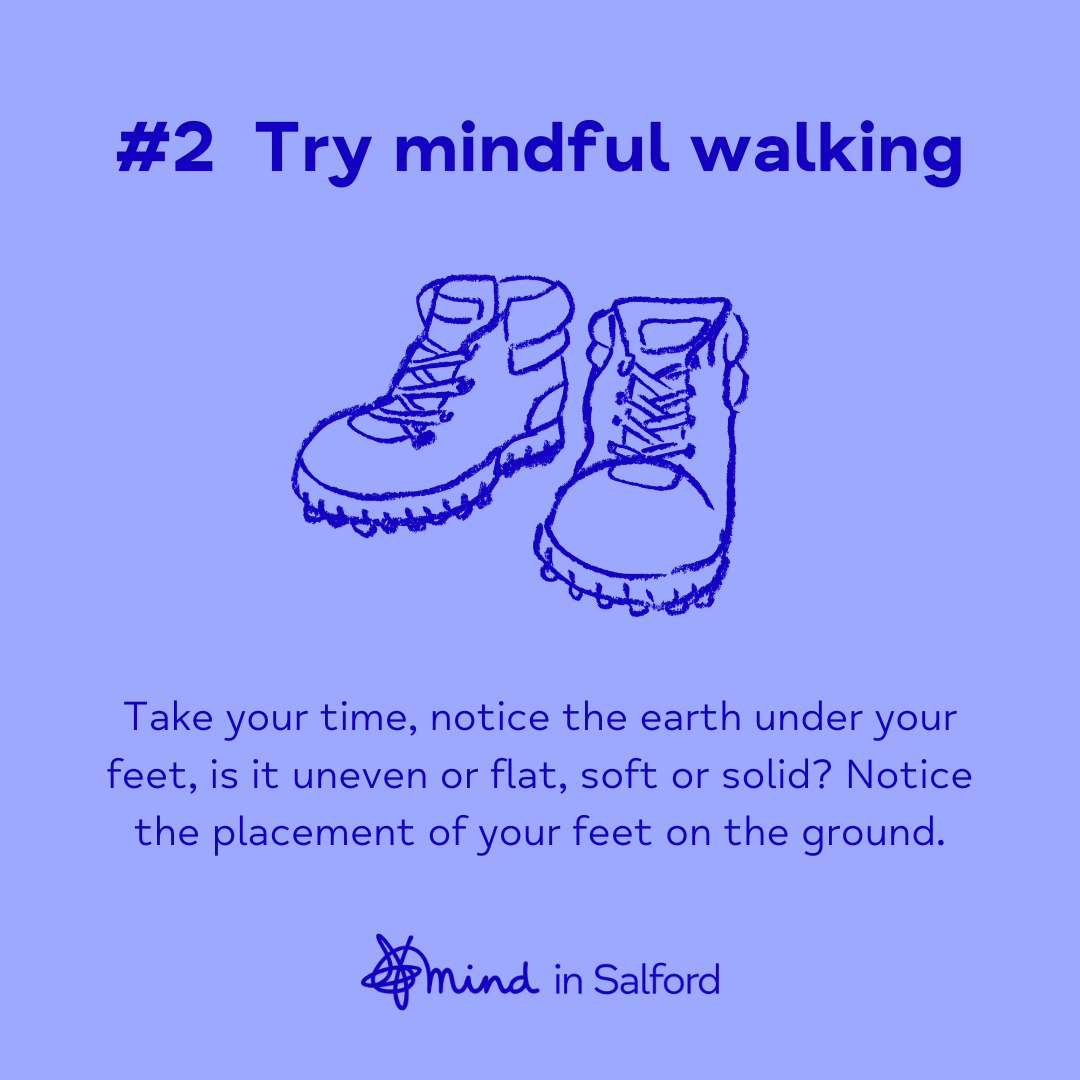 #2 Try mindful walking. Take your time, notice the earth under your feet. Is it uneven or flat, soft or solid? Notice the placement of your feet on the ground.
