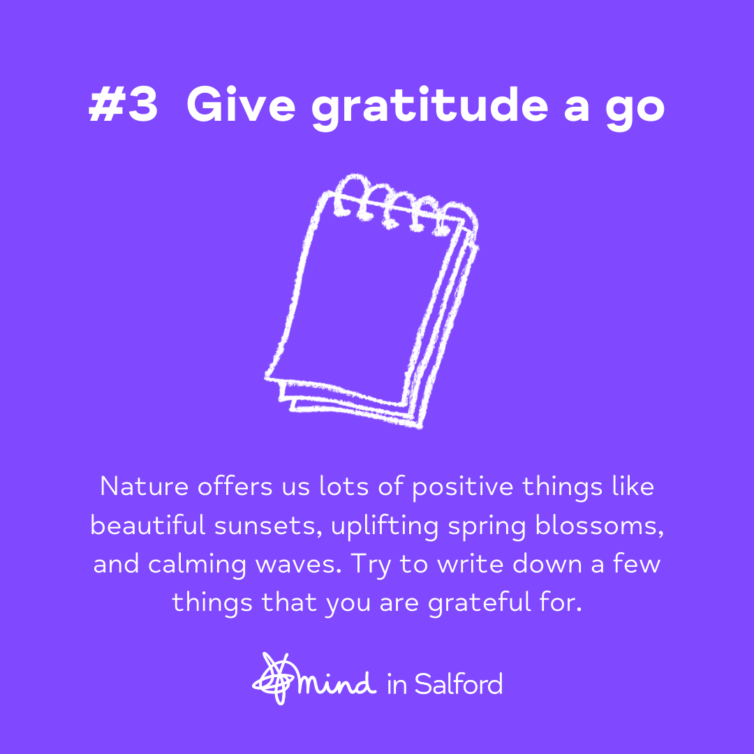 #3 Give gratitude a go. Nature offers us lots of positive things like beautiful sunsets, uplifting spring blossoms, and calming waves. Try to write down a few things that you're grateful for.